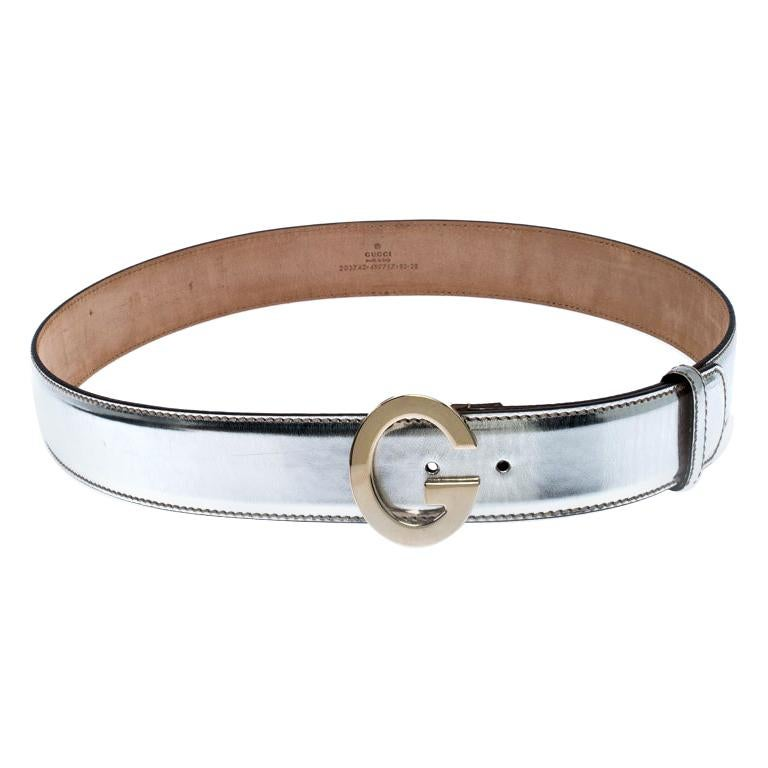 Gucci Metallic Silver Patent Leather G Buckle Belt 95CM For Sale