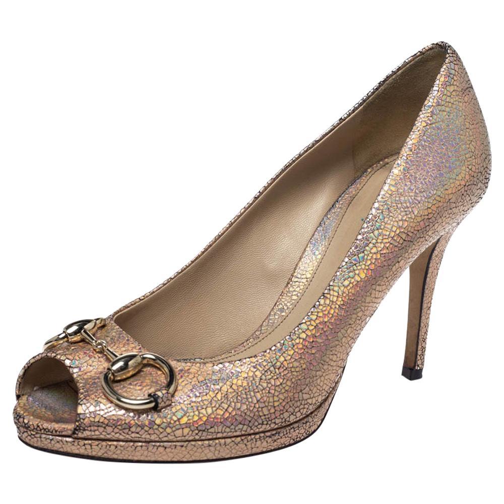 Gucci Metallic Textured Leather-iridescent Horsebit Peep Toe Pumps Size 37