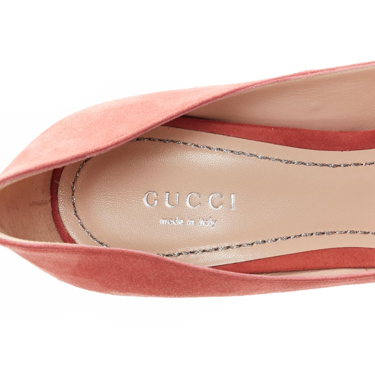 GUCCI MICHELE Dionysus pink suede silver crystal buckle square toe pump EU38 For Sale 5