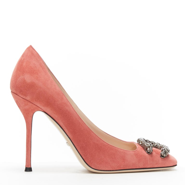 GUCCI MICHELE Dionysus pink suede silver crystal buckle square toe pump EU38 Brand: Gucci Designer: Alessandro Michele Model Name / Style: Dionysus  Material: Suede Color: Pink Pattern: Solid Closure: Slip on Extra Detail: Ultra High (4 in & Higher)