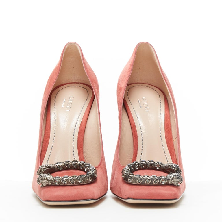 Pink GUCCI MICHELE Dionysus pink suede silver crystal buckle square toe pump EU38 For Sale