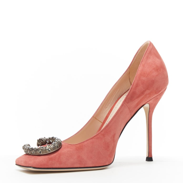 GUCCI MICHELE Dionysus pink suede silver crystal buckle square toe pump EU38 In Excellent Condition For Sale In Hong Kong, NT