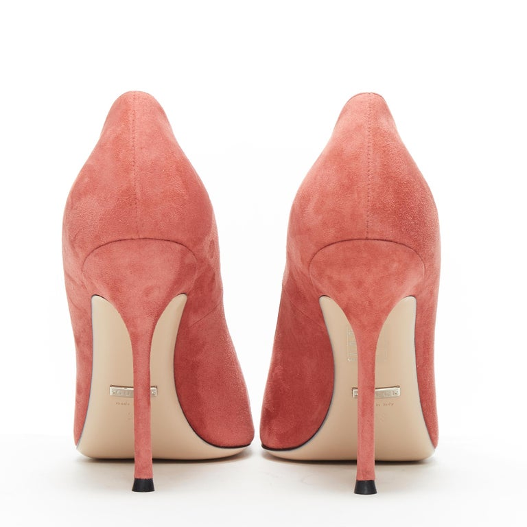 Women's GUCCI MICHELE Dionysus pink suede silver crystal buckle square toe pump EU38 For Sale