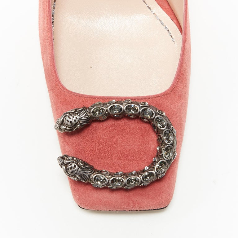 GUCCI MICHELE Dionysus pink suede silver crystal buckle square toe pump EU38 For Sale 2