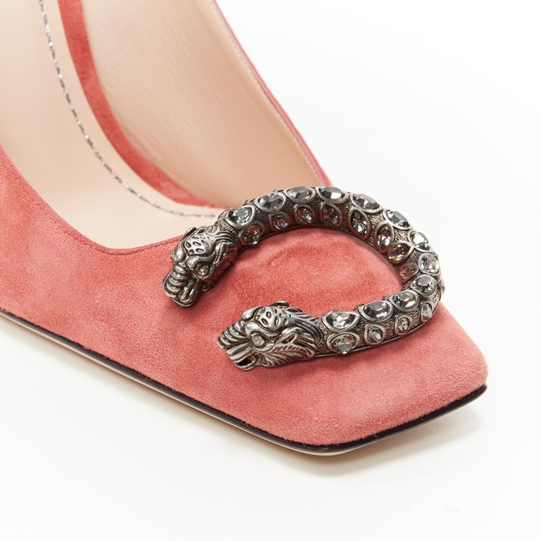 GUCCI MICHELE Dionysus pink suede silver crystal buckle square toe pump EU38 For Sale 3