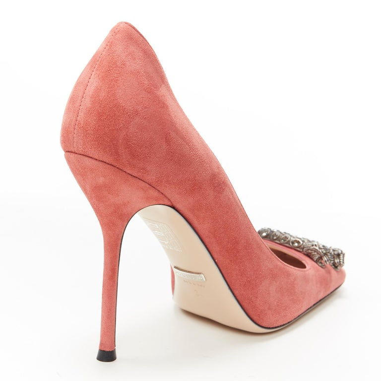 GUCCI MICHELE Dionysus pink suede silver crystal buckle square toe pump EU38 For Sale 4
