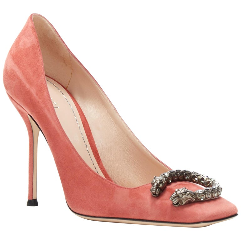 GUCCI MICHELE Dionysus pink suede silver crystal buckle square toe pump EU38 For Sale