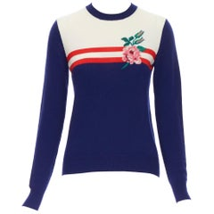 GUCCI MICHELE fine wool cashmere blue red web floral embroidered sweater S