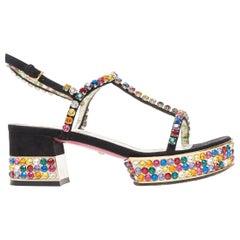 GUCCI Michele Mira rainbow jewel strass crystal block heel T-strap sandal EU35.5