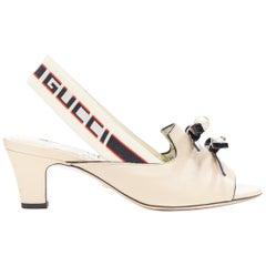 GUCCI MICHELE nude GG pearl patent bow open toe logo slingback heel EU36.5