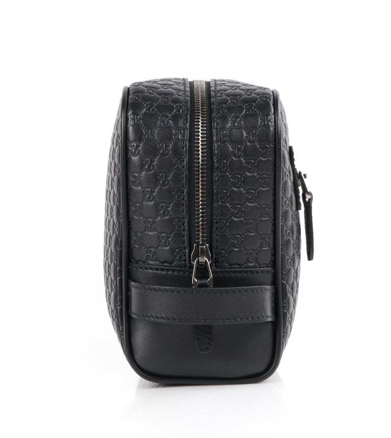 """Women's or Men's GUCCI """"Microguccissima"""" Black Embossed Leather Zip Cosmetic Toiletry Travel Bag For Sale"""