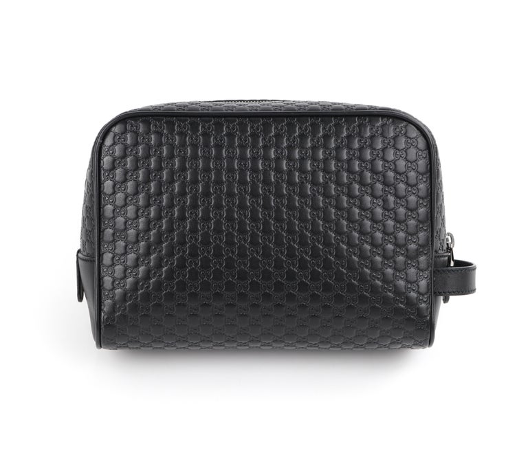 """GUCCI """"Microguccissima"""" Black Embossed Leather Zip Cosmetic Toiletry Travel Bag For Sale 1"""