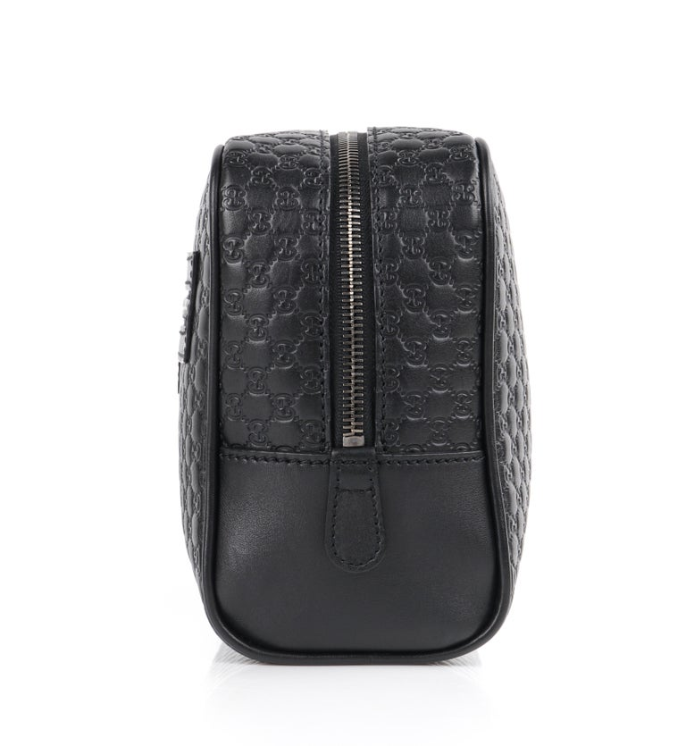 """GUCCI """"Microguccissima"""" Black Embossed Leather Zip Cosmetic Toiletry Travel Bag For Sale 2"""