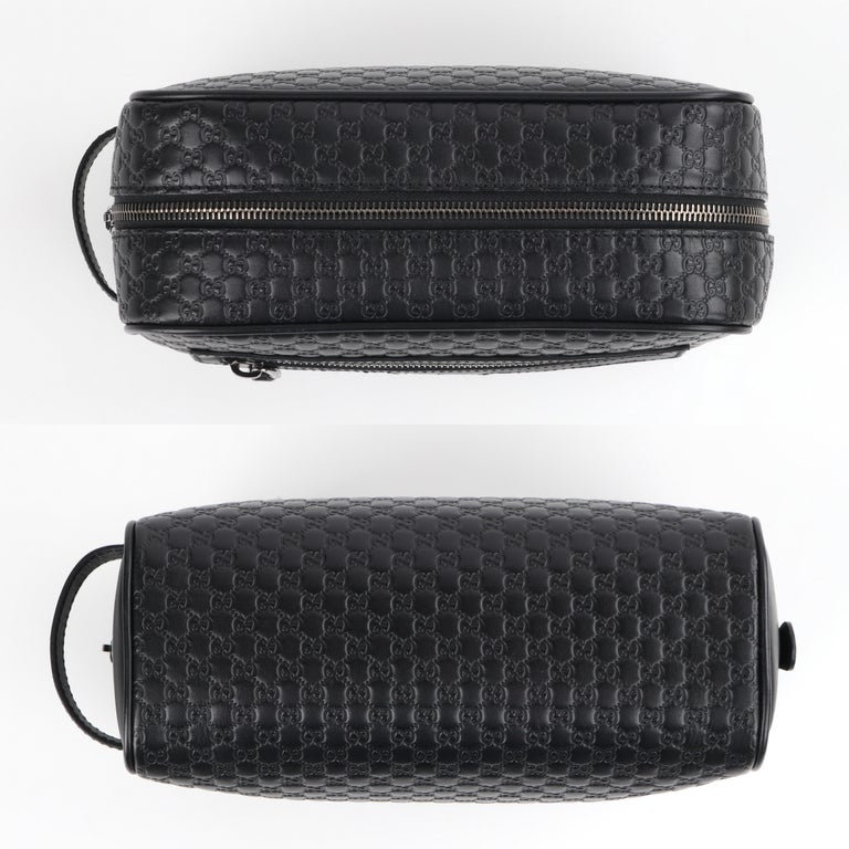"""GUCCI """"Microguccissima"""" Black Embossed Leather Zip Cosmetic Toiletry Travel Bag For Sale 4"""