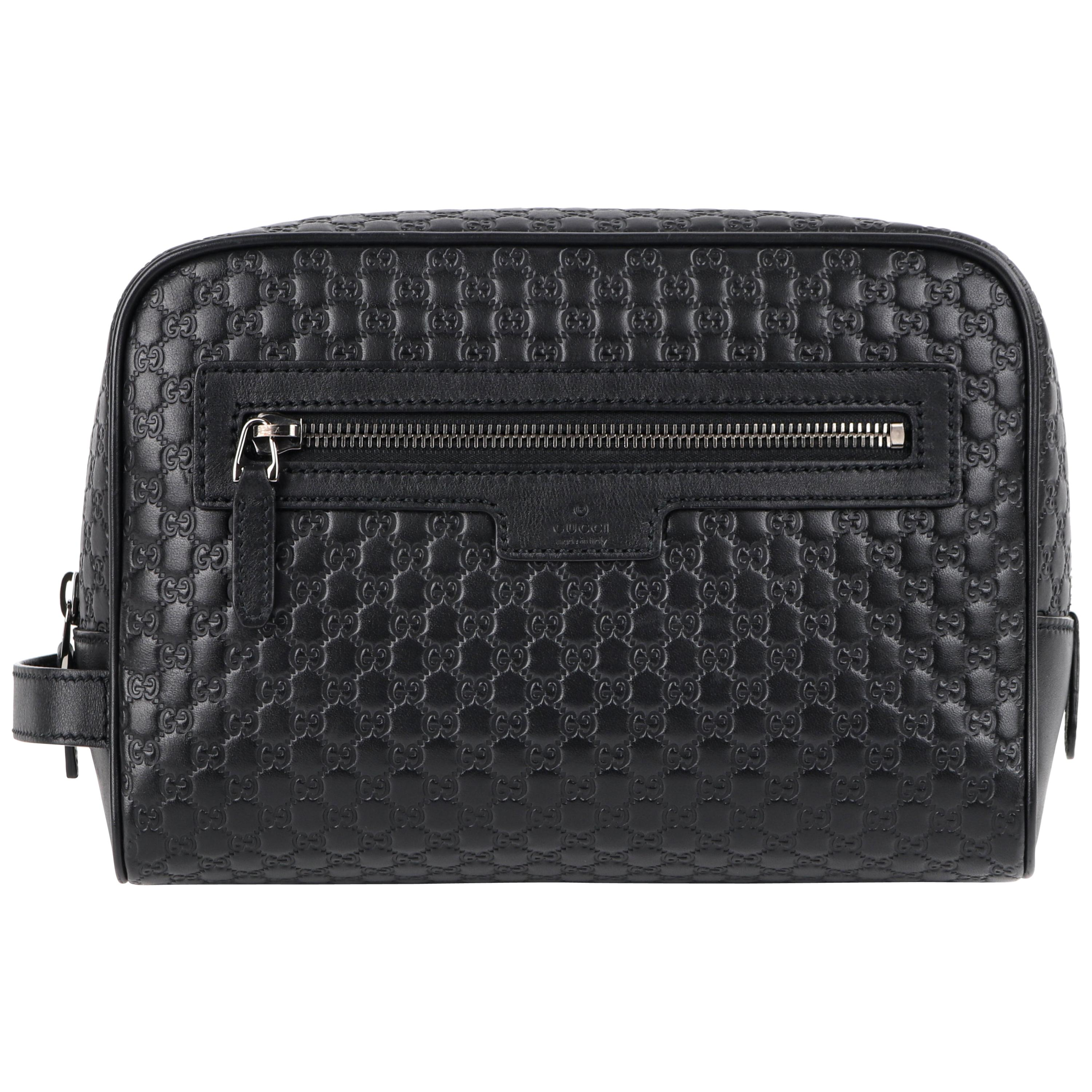 """GUCCI """"Microguccissima"""" Black Embossed Leather Zip Cosmetic Toiletry Travel Bag"""