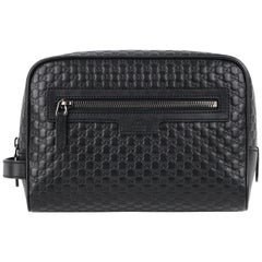 "GUCCI ""Microguccissima"" Black Embossed Leather Zip Cosmetic Toiletry Travel Bag"
