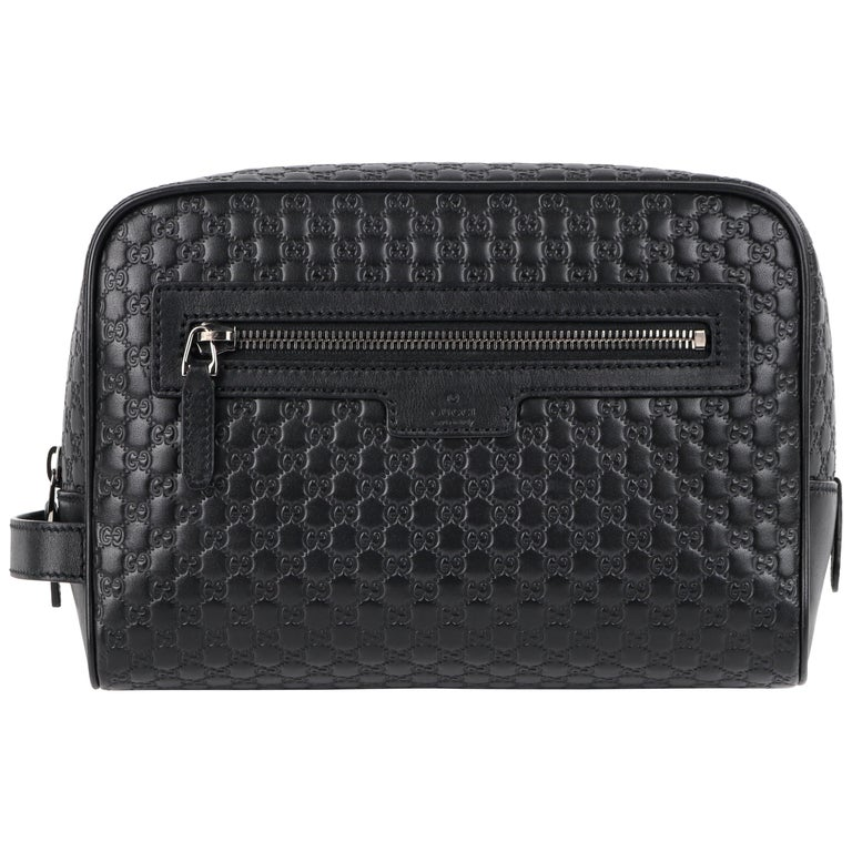 """GUCCI """"Microguccissima"""" Black Embossed Leather Zip Cosmetic Toiletry Travel Bag For Sale"""