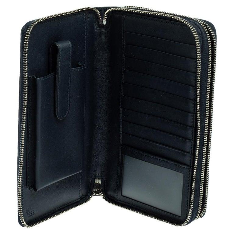 Black Gucci Microguccissima Leather Double Zip Organizer Clutch