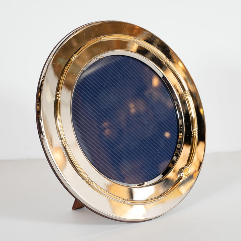 Late 20th Century Gucci Mid-Century Modern Silver Plate and 14-Karat Gold Circular Picture Frame For Sale