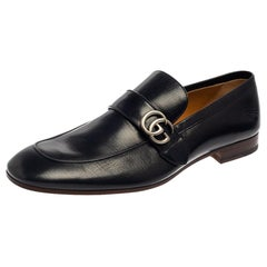 Gucci Midnight Blue Leather Double G Loafers Size 48