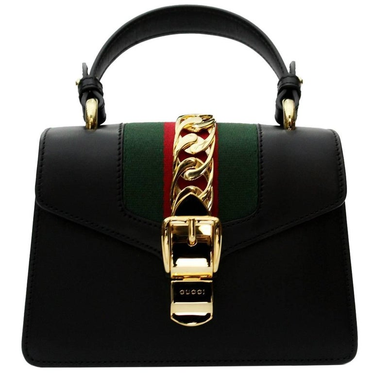 7ec7197a6bd Gucci Mini Black Sylvie Bag 2018 For Sale at 1stdibs