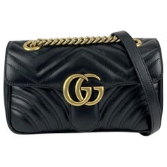 Gucci Mini GG Marmont Matelassè Black Leather Crossbody Shoulder Bag