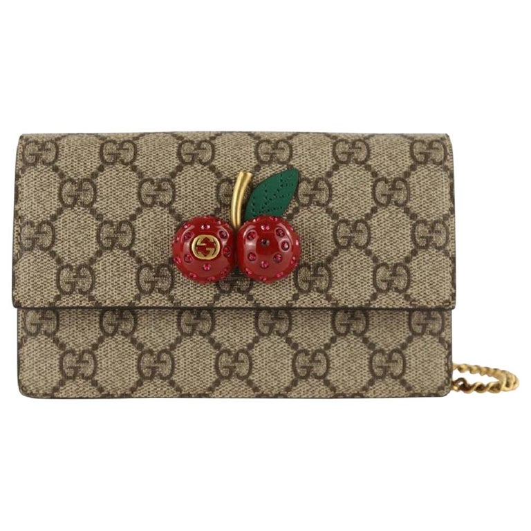 Gucci Mini With Cherries Red Gg Supreme Canvas Cross Body Bag For Sale