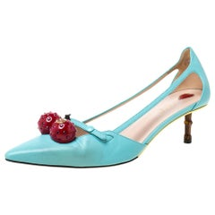 Gucci Mint Green Leather Unia Cherry Pointed Toe Pumps 40
