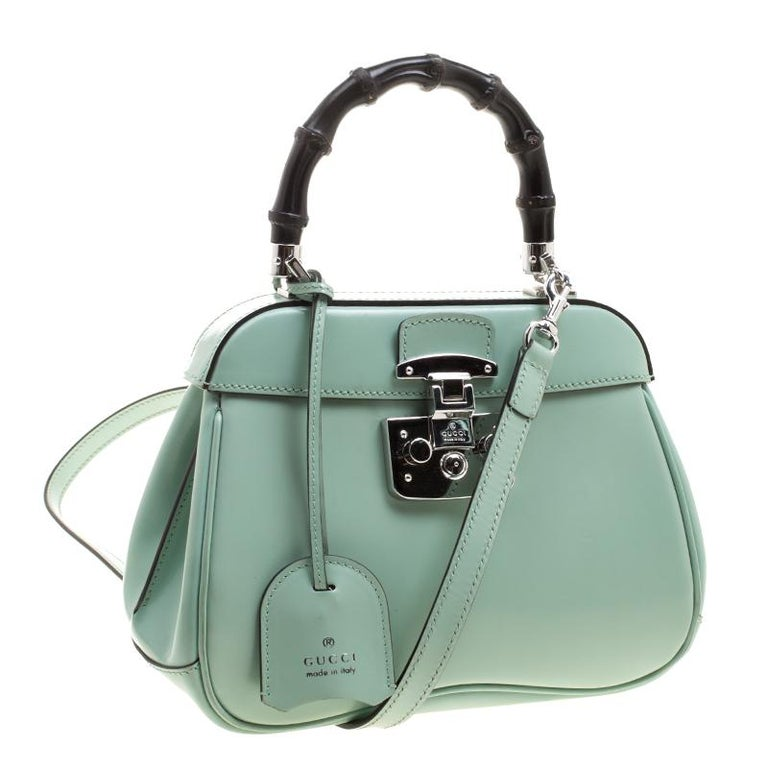 cd20f6525e4c Gray Gucci Mint Green Patent Leather Mini Lady Lock Bamboo Top Handle Bag  For Sale
