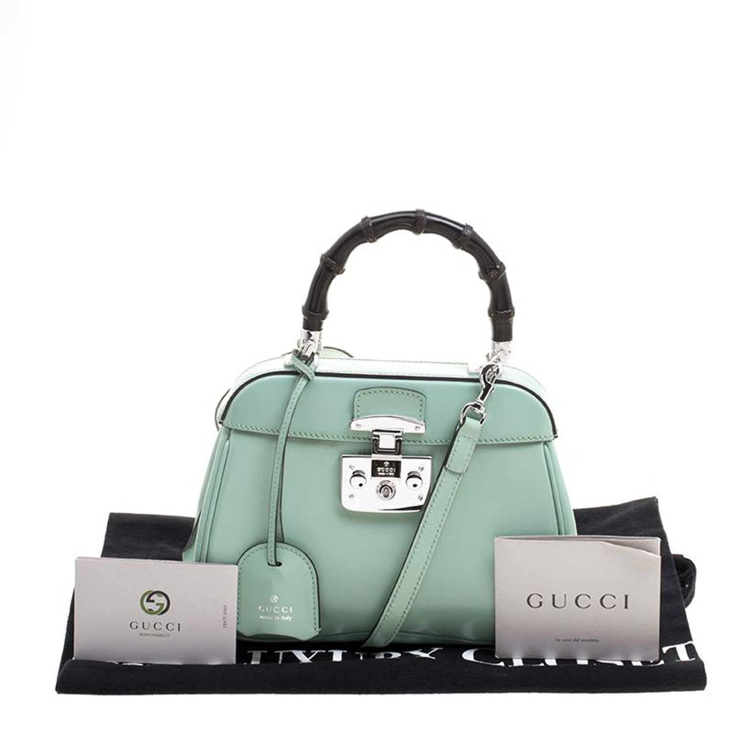 e996674053d Gucci Mint Green Patent Leather Mini Lady Lock Bamboo Top Handle Bag at  1stdibs