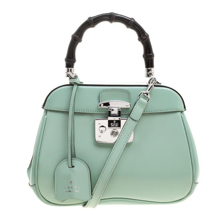 db2361d96f9 Gucci Mint Green Patent Leather Mini Lady Lock Bamboo Top Handle Bag For  Sale