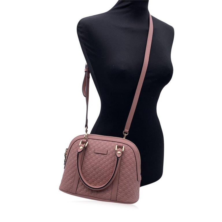 Brown Gucci Mint Pink Micro Guccissima Leather Dome Bag Satchel