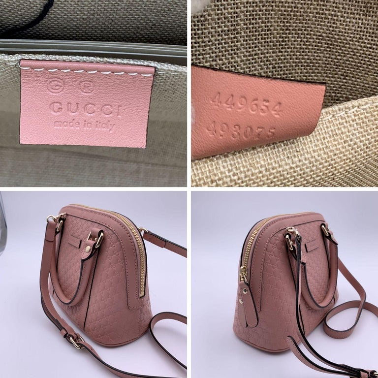 Women's Gucci Mint Pink Micro Guccissima Leather Dome Bag Satchel