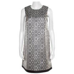 Gucci Monochrome Metallic Floral Jacquard Sleeveless Dress S