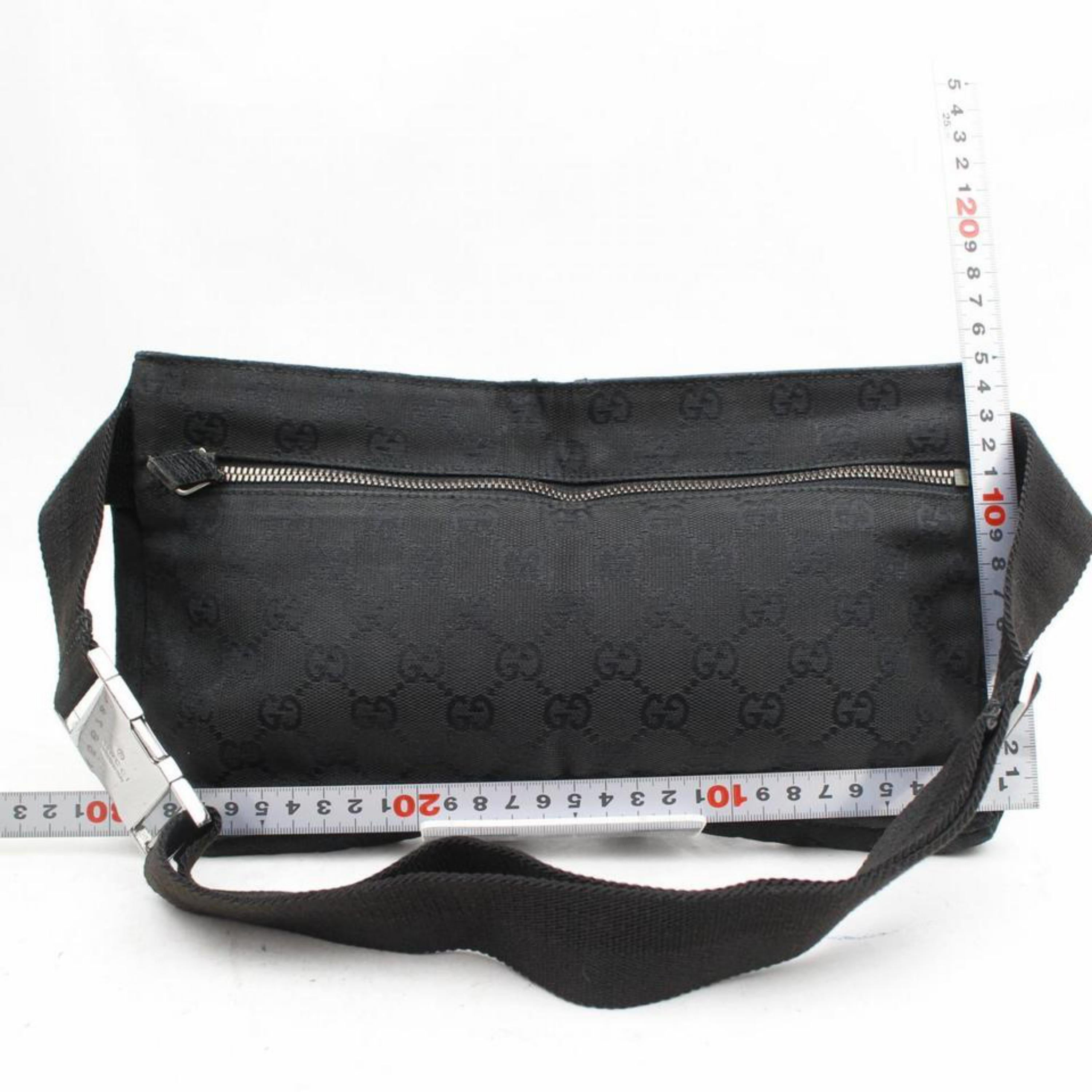 82751cab571 Gucci Monogram Belt Fanny Pack Waist Pouch 869190 Black Canvas Cross Body  Bag For Sale at 1stdibs