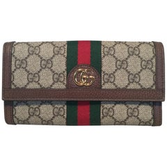 Gucci Monogram Brown Leather and Striped Canvas Wallet