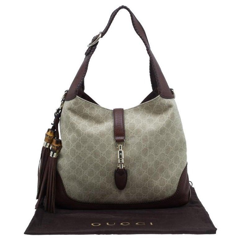 407a962acfd0 Gucci Monogram Canvas Medium Jackie Hobo Shoulder Bag For Sale at ...