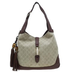 Gucci Monogram Canvas Medium Jackie Hobo Shoulder Bag
