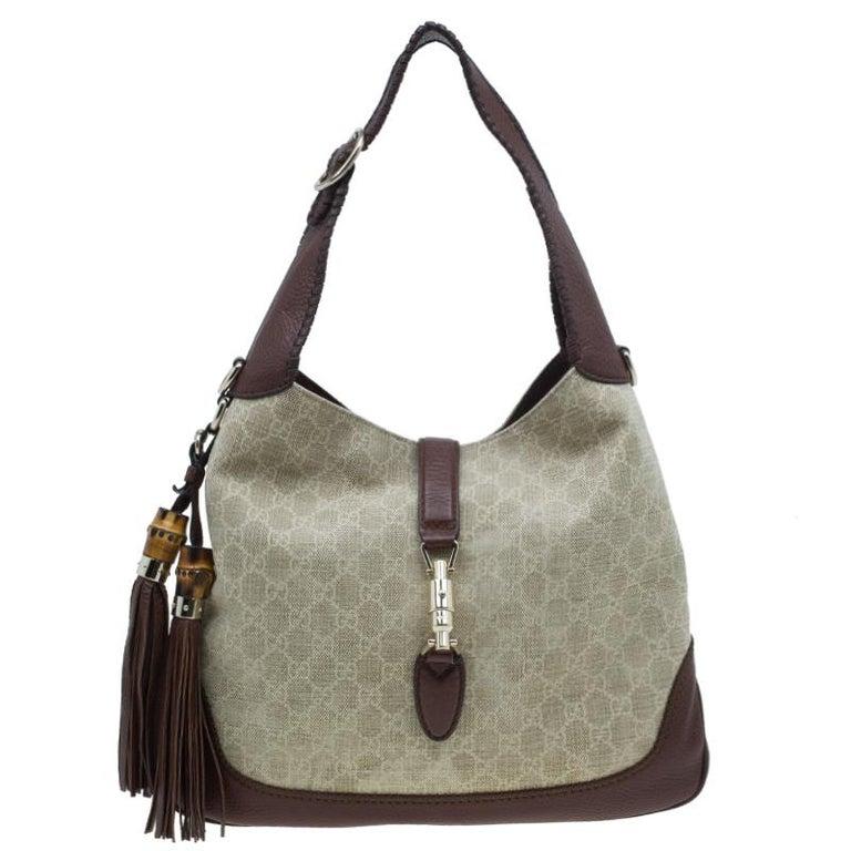 9f8dcbc23ada Gucci Monogram Canvas Medium Jackie Hobo Shoulder Bag For Sale at ...