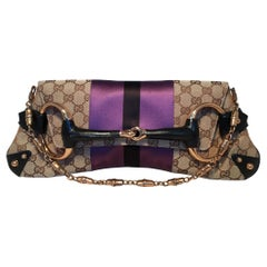 Gucci Monogram Canvas Satin Stripe Harness Horsebit Chain Clutch