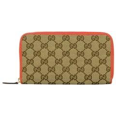 Gucci Monogram Canvas Zip Around Wallet w/ Orange Leather Trim