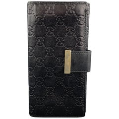 GUCCI Monogram Embossed Black Leather Checkbook Wallet