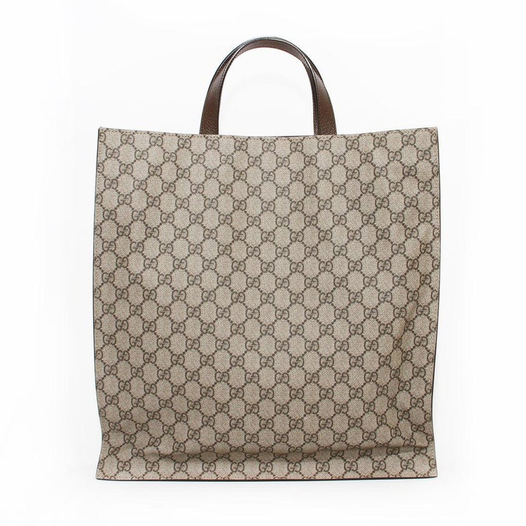 Gucci Monogram Floral Canvas Tote In Good Condition For Sale In Los Angeles, CA