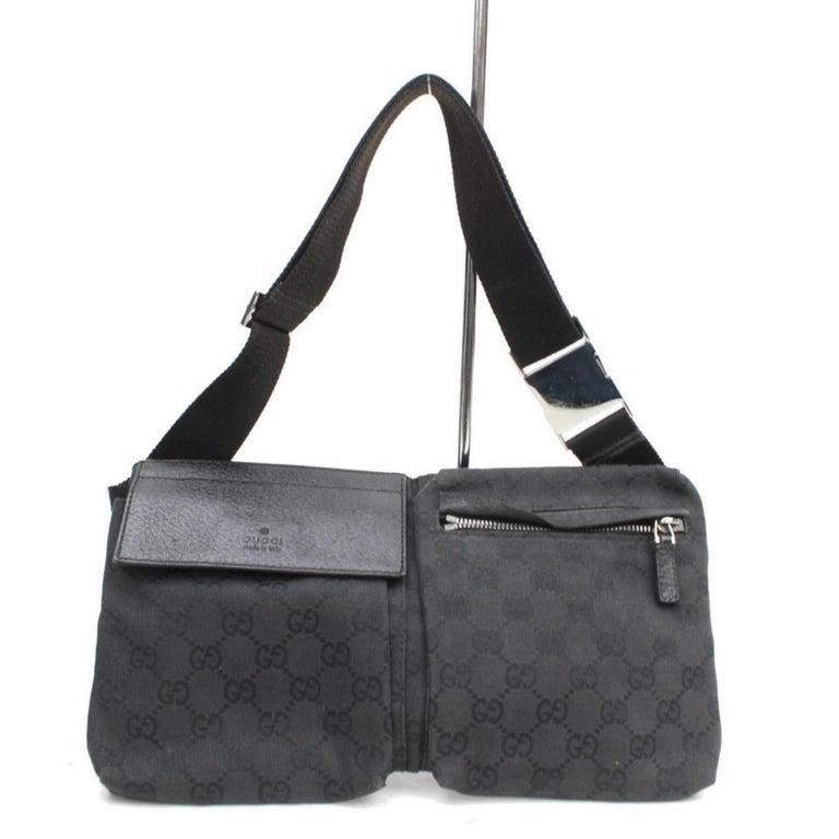59885abb47cf73 Gucci Monogram Gg Belt Fanny Pack Waist Pouch 869604 Black Canvas Cross  Body Bag For Sale