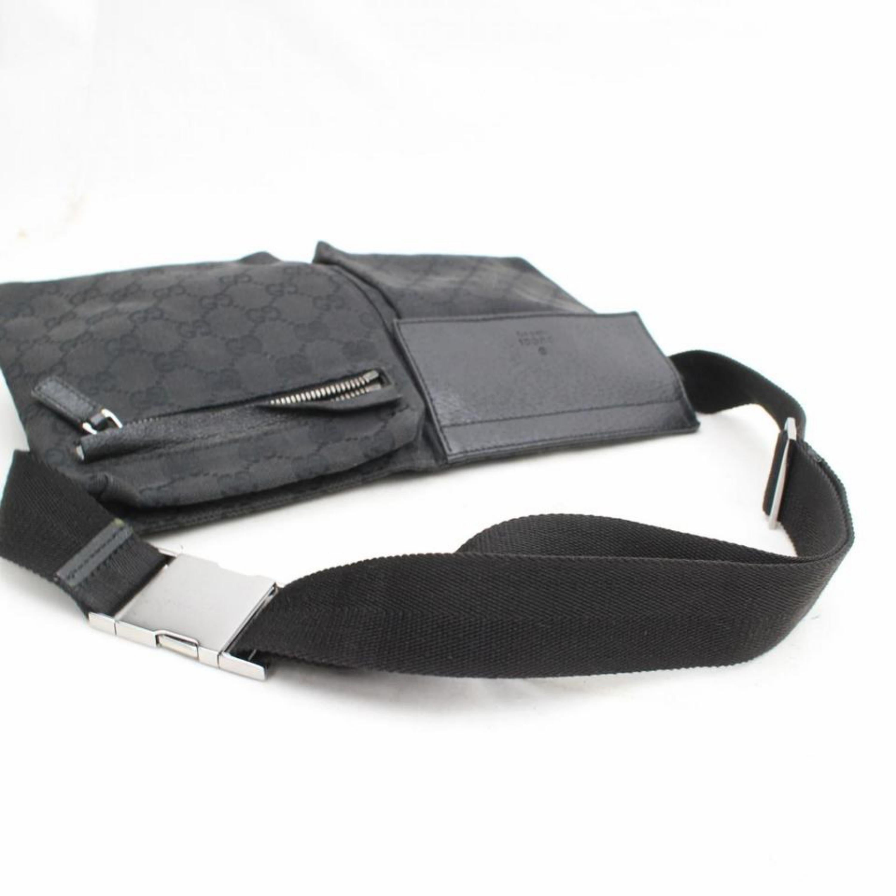 a6a836037d2b Gucci Monogram Gg Belt Fanny Pack Waist Pouch 869604 Black Canvas Cross  Body Bag For Sale at 1stdibs