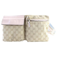 Gucci Monogram Gg Belt Pouch Fanny Pack 228285 Brown Coated Canvas Cross BodyBag