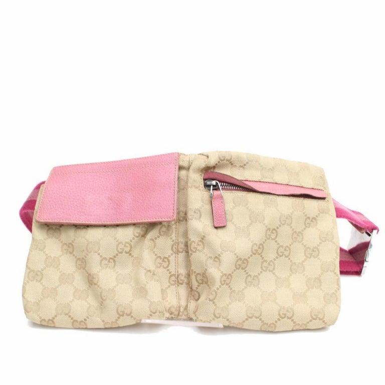 242554b6d52d Gucci Monogram Gg Fanny Pack Waist Pouch 868096 Pink Canvas Cross Body Bag  For Sale 1