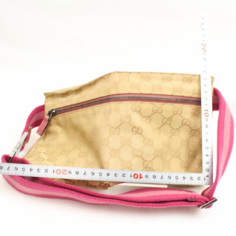 91ae254cfe2e Gucci Monogram Gg Fanny Pack Waist Pouch 868096 Pink Canvas Cross Body Bag  For Sale 3