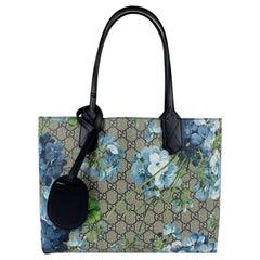 Gucci Monogram GG Supreme Blue Blooms Small Reversible Tote Bag