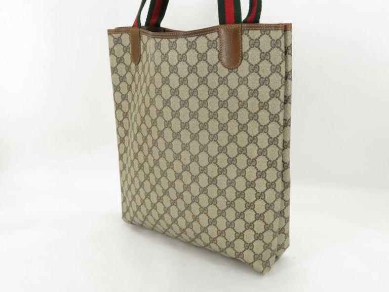 6f5a746588184a Gucci Monogram Gg Supreme Large Web Shopper 868051 Brown Coated Canvas Tote  For Sale. Approximate SizeWx30cm(11.8inch) Hx35cm(13.8inch) Dx8cm(3.1inch)